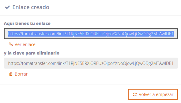 Toma Transfer Enlaces descarga y borrado